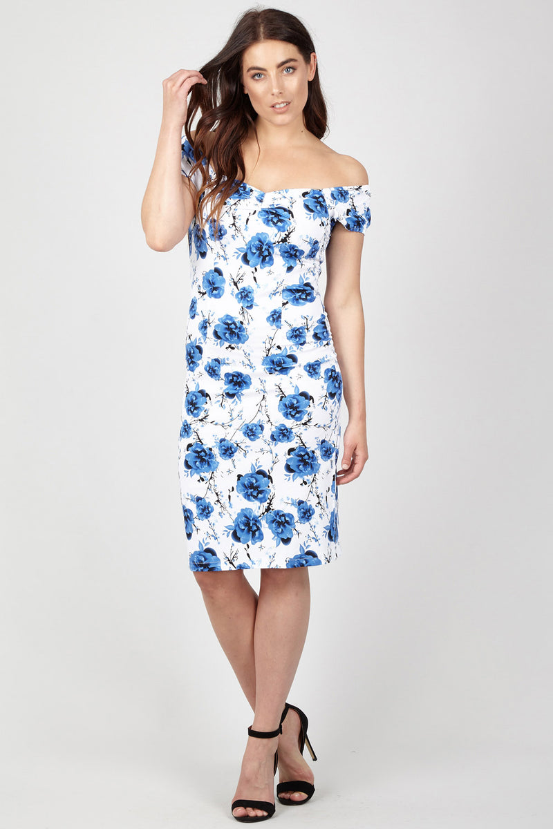 Blue | Floral Sweetheart Bodycon Dress | Izabel London