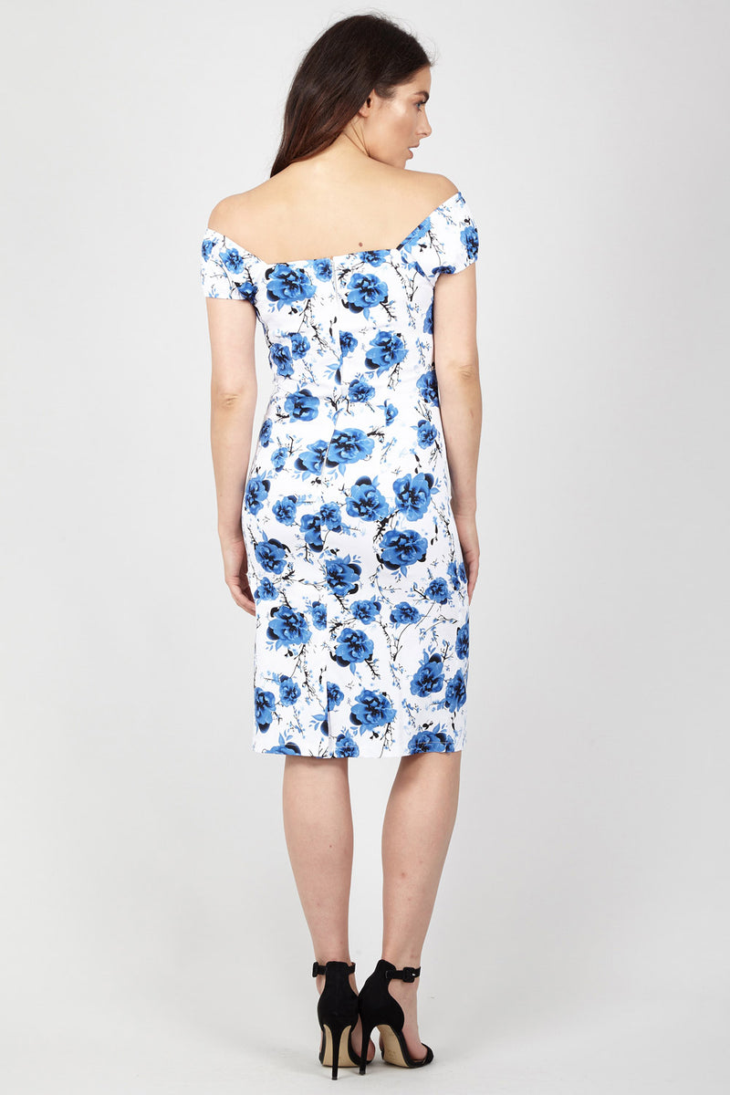 Blue | Floral Sweetheart Bodycon Dress