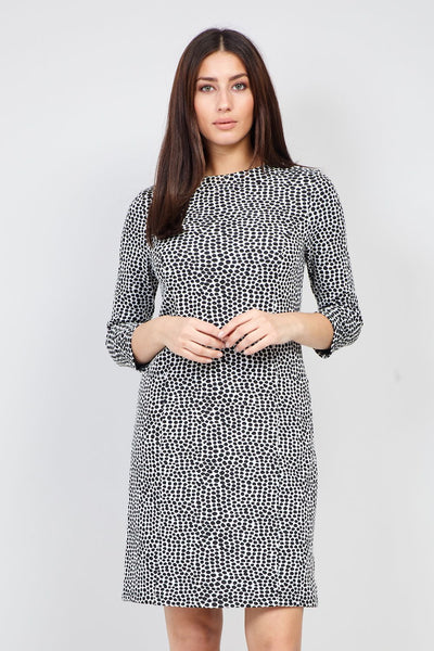 Black | Polka Dot Print Shift Dress