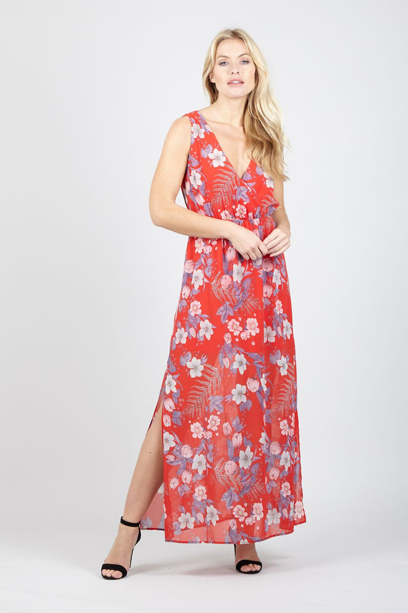 Floral Split Side Maxi Dress - Izabel London