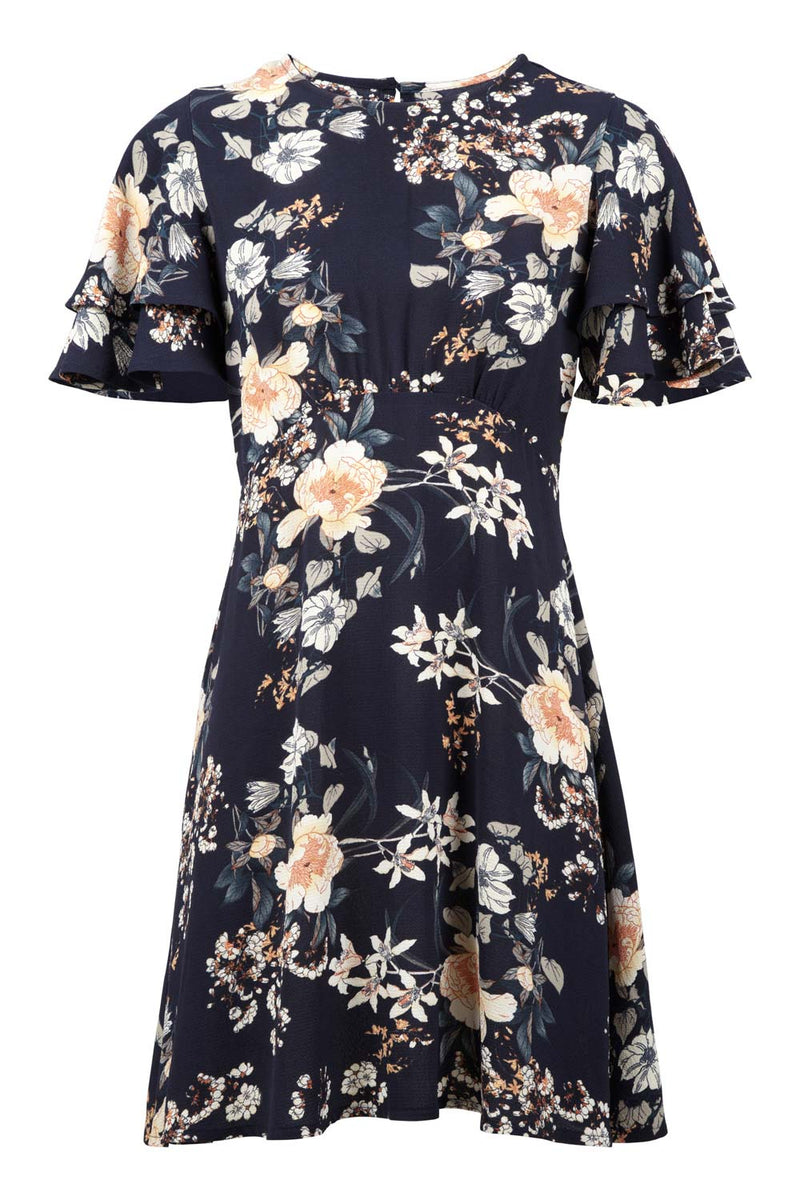 Navy | Floral Angel Sleeve Dress