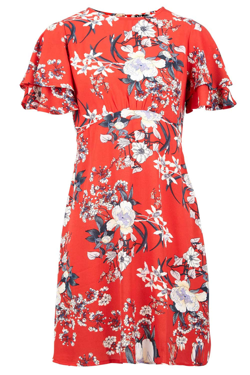 Red | Floral Angel Sleeve Dress