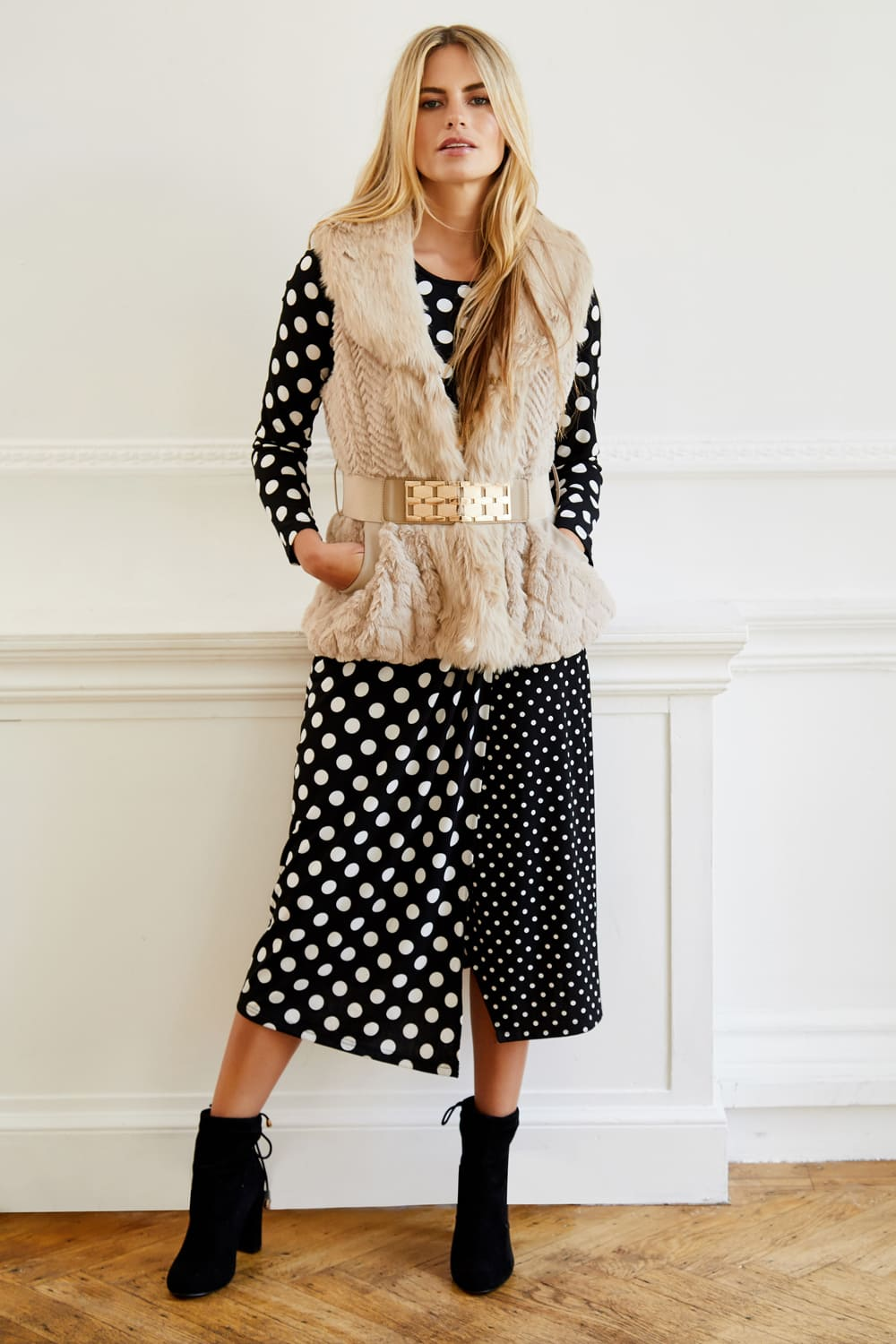 Polka Dot Midi Dress - Izabel London