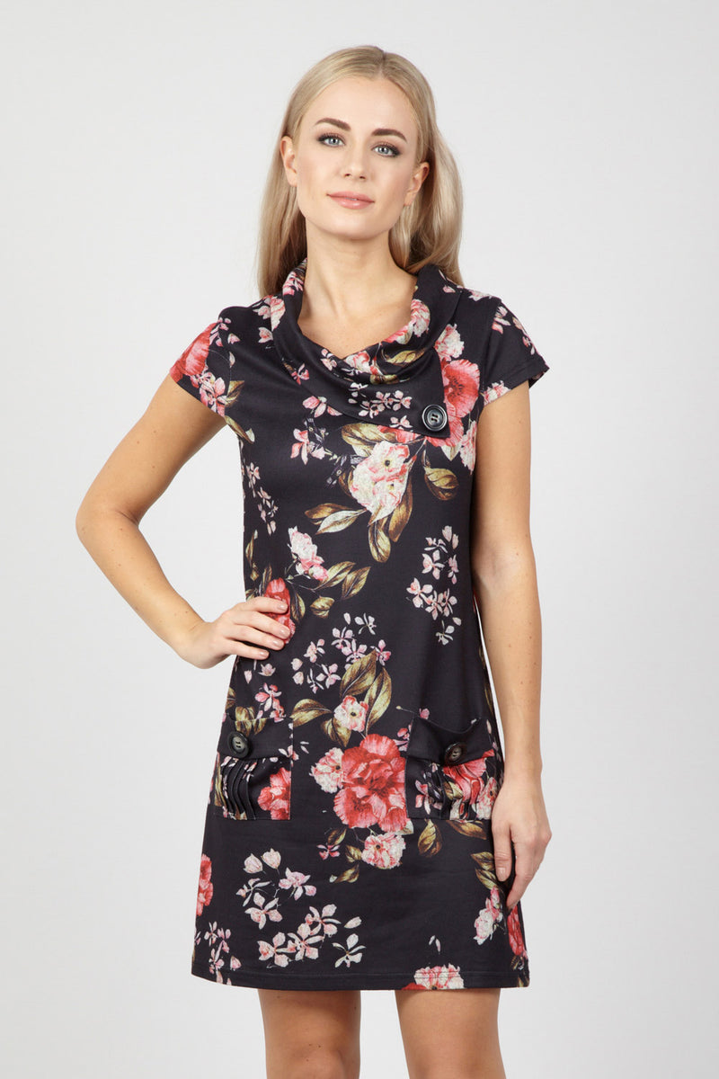 Floral Roll Neck Tunic - Izabel London