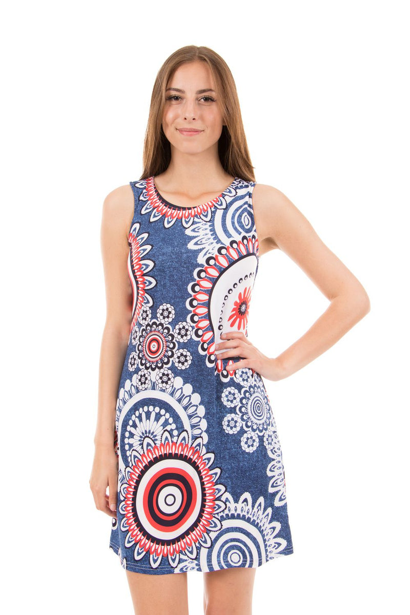 Navy | Mosaic Print Shift Dress