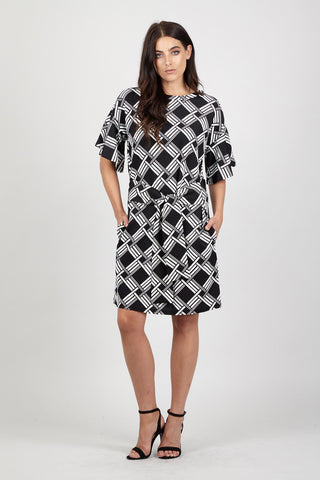 Abstract Wheel Wrap Dress