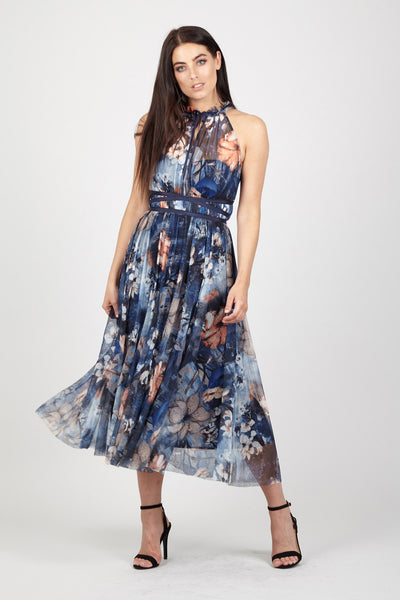 Halterneck Floral Maxi Dress - Izabel London