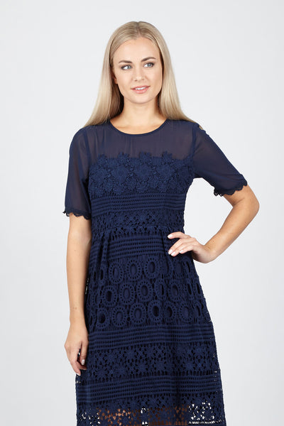 Lace Overlay Tea Dress - Izabel London