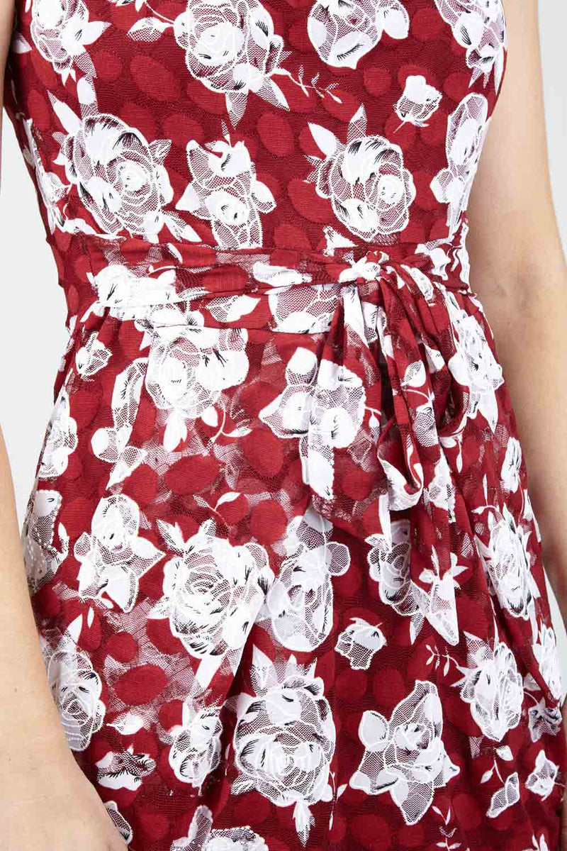 Red | Floral Shift Dress