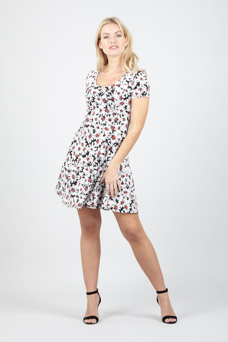 Daisy Print Tea Dress - Izabel London