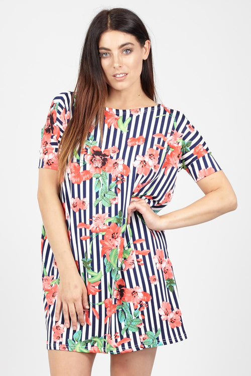 Floral & Stripe Shift Dress - Izabel London