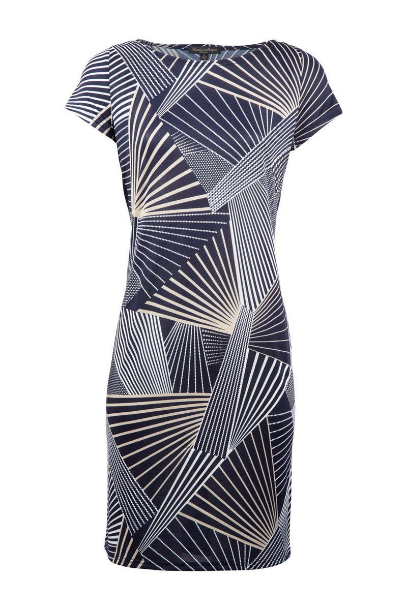 Navy | Geo Stripe Shift Dress