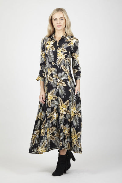 Floral Maxi Shirt Dress - Izabel London