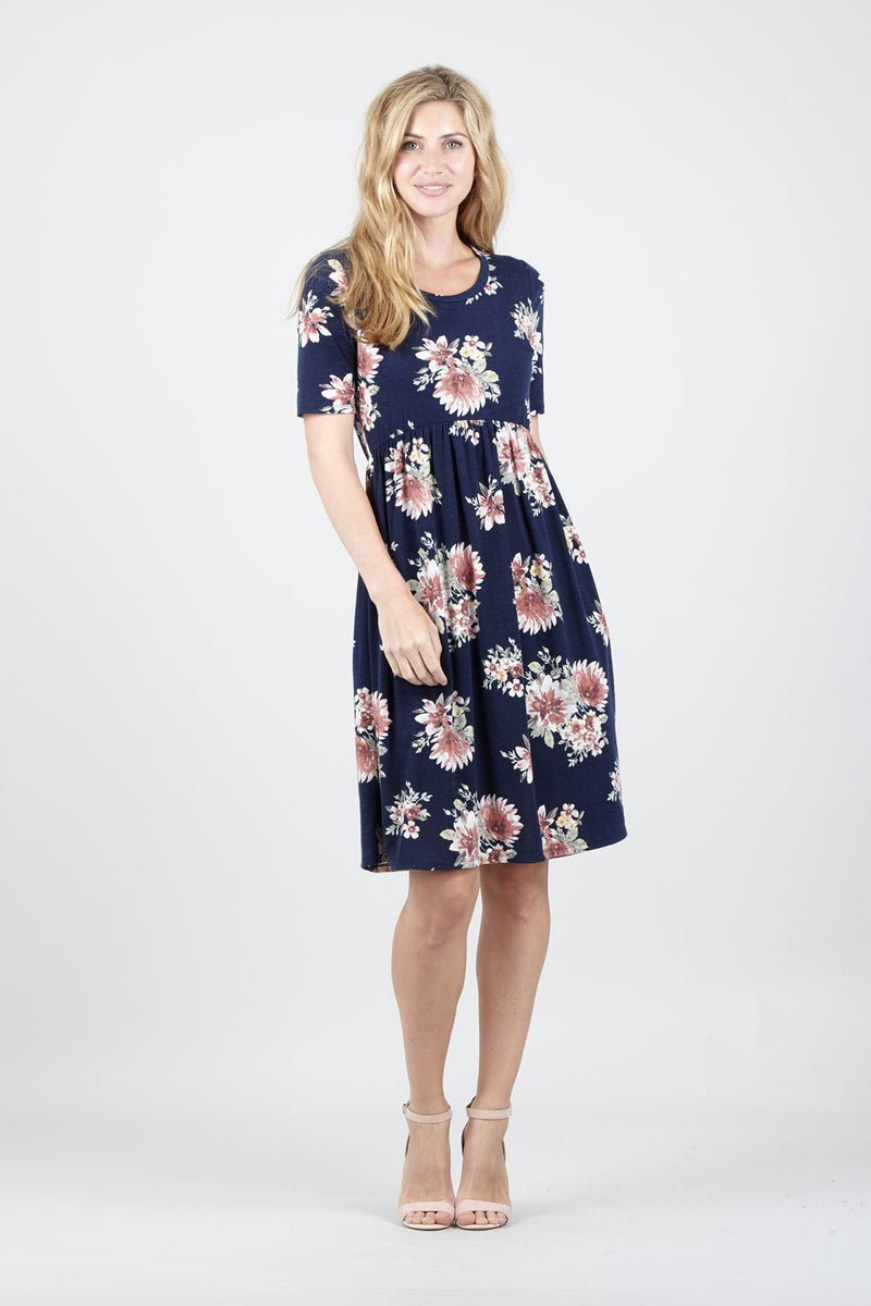 Navy | Floral Fit & Flare Dress | Izabel London