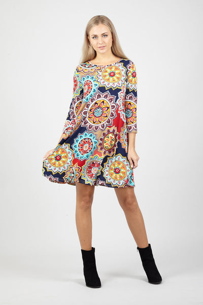 Colourful Swing Dress - Izabel London