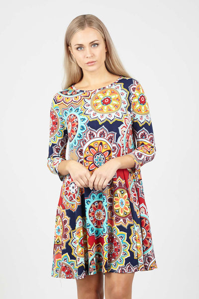 Navy | Colourful Swing Dress