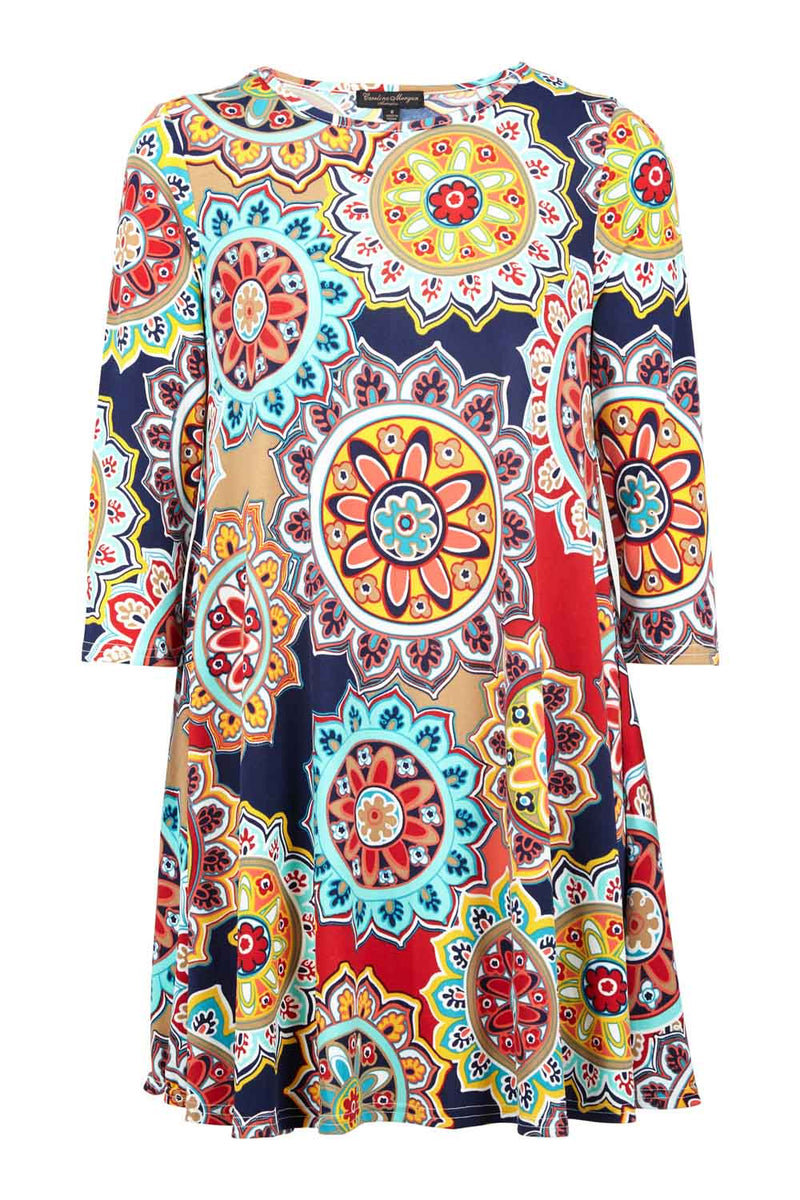 | Colourful Swing Dress | Izabel London