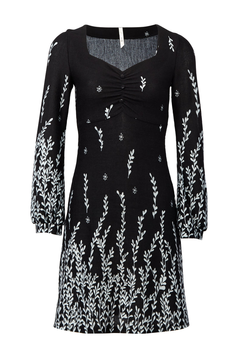 Black | Floral Knitted Shift Dress
