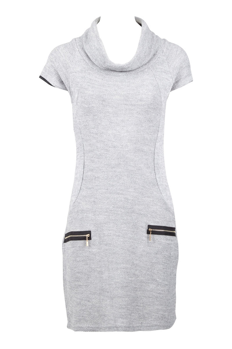 Roll Neck Knit Dress With Zip Details - Izabel London
