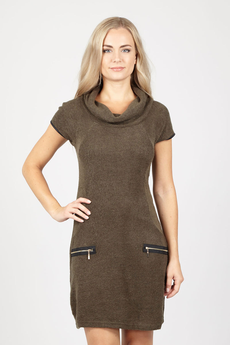 Green | Roll Neck Knit Dress With Zip Details