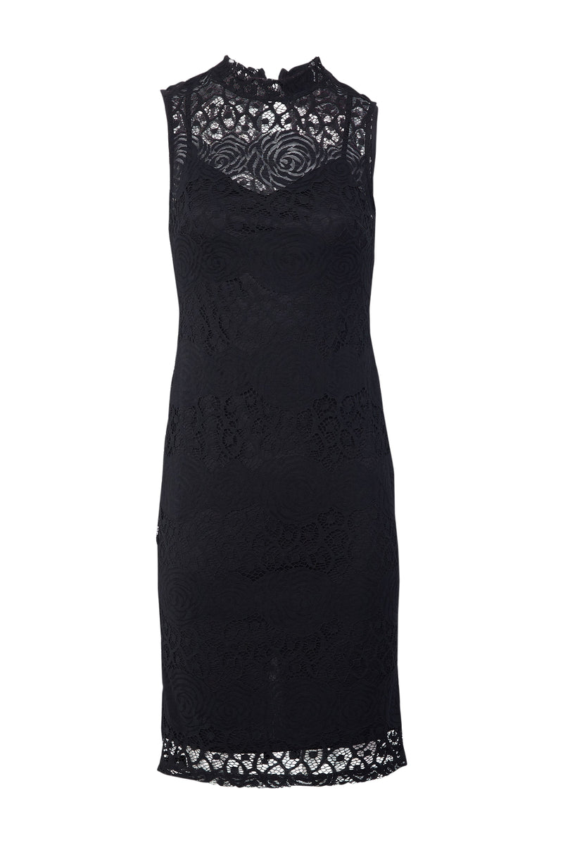 Black | Lace Overlay Bodycon Dress