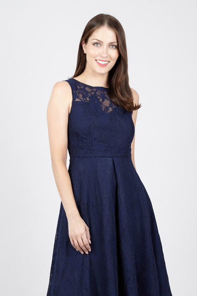 Lace Fit & Flare Midi Dress - Izabel London