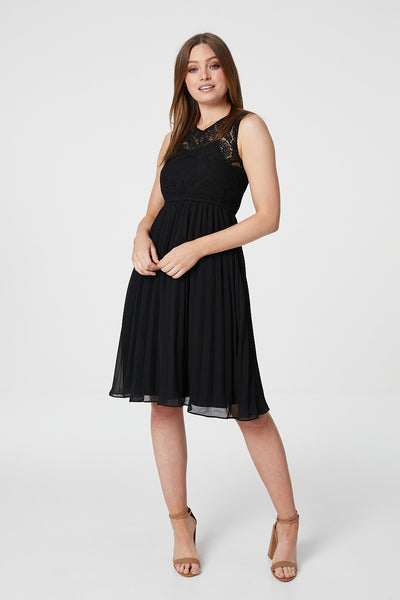 Lace Overlay Pleated Dress - Izabel London