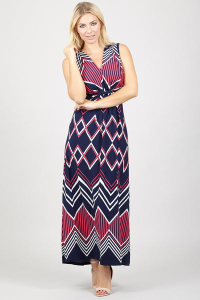 Aztec Stripe Maxi Dress - Izabel London