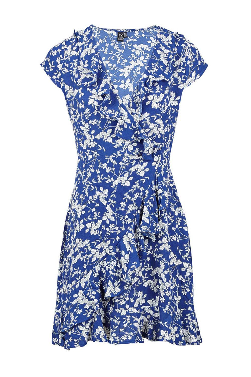 Blue | Floral Wrap Tea Dress