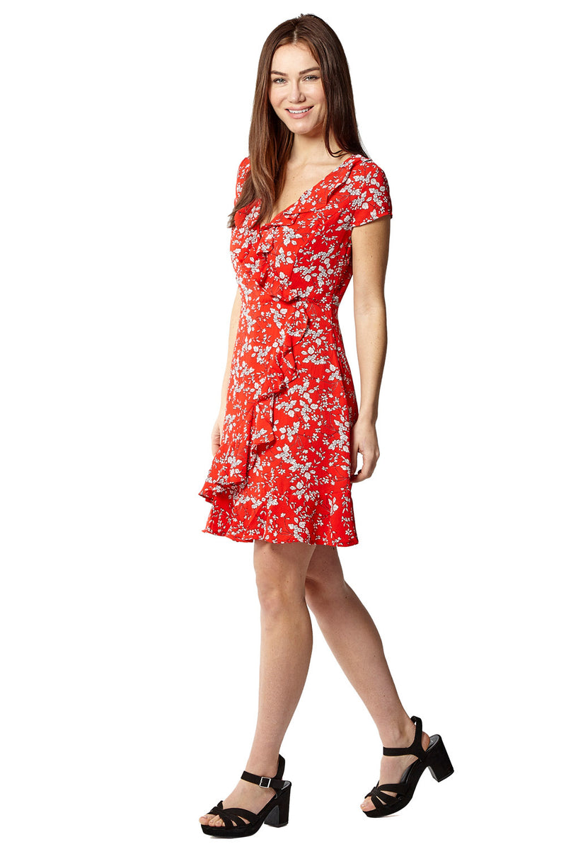 Red | Floral Wrap Tea Dress