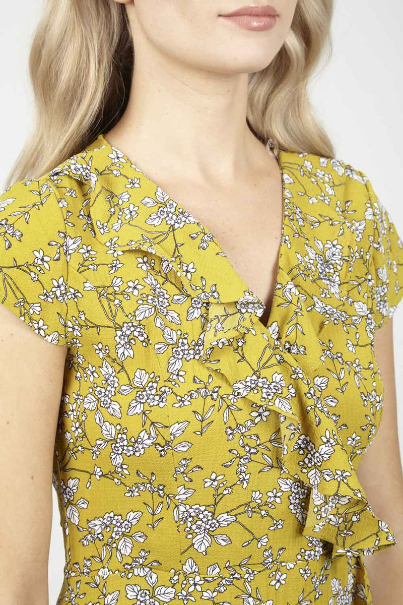 Yellow | Floral Wrap Tea Dress