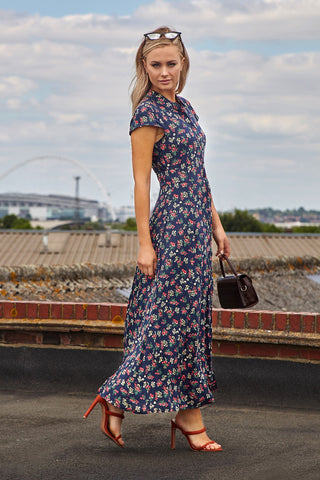 Animal Print Hanky Hem Maxi Dress