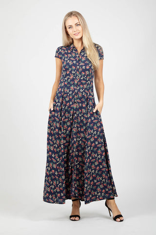 Floral Design Pleated Midi Skirt