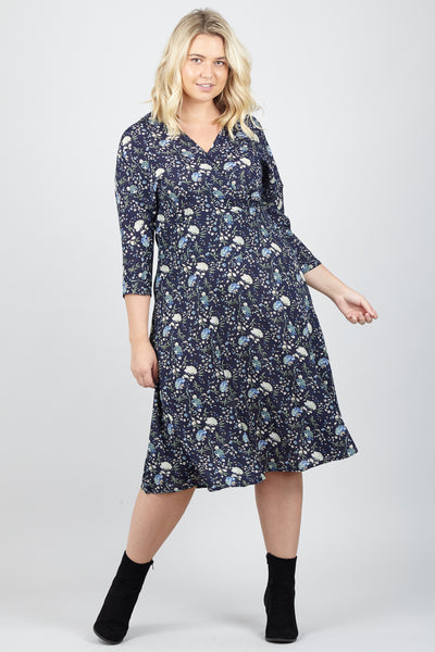 Curve Ditsy Floral Wrap Dress - Izabel London
