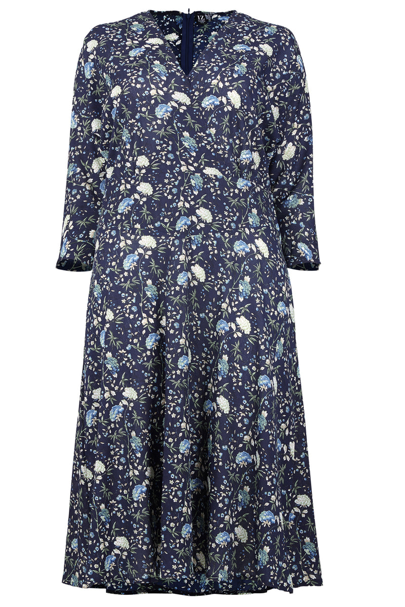 Navy | Curve Ditsy Floral Wrap Dress