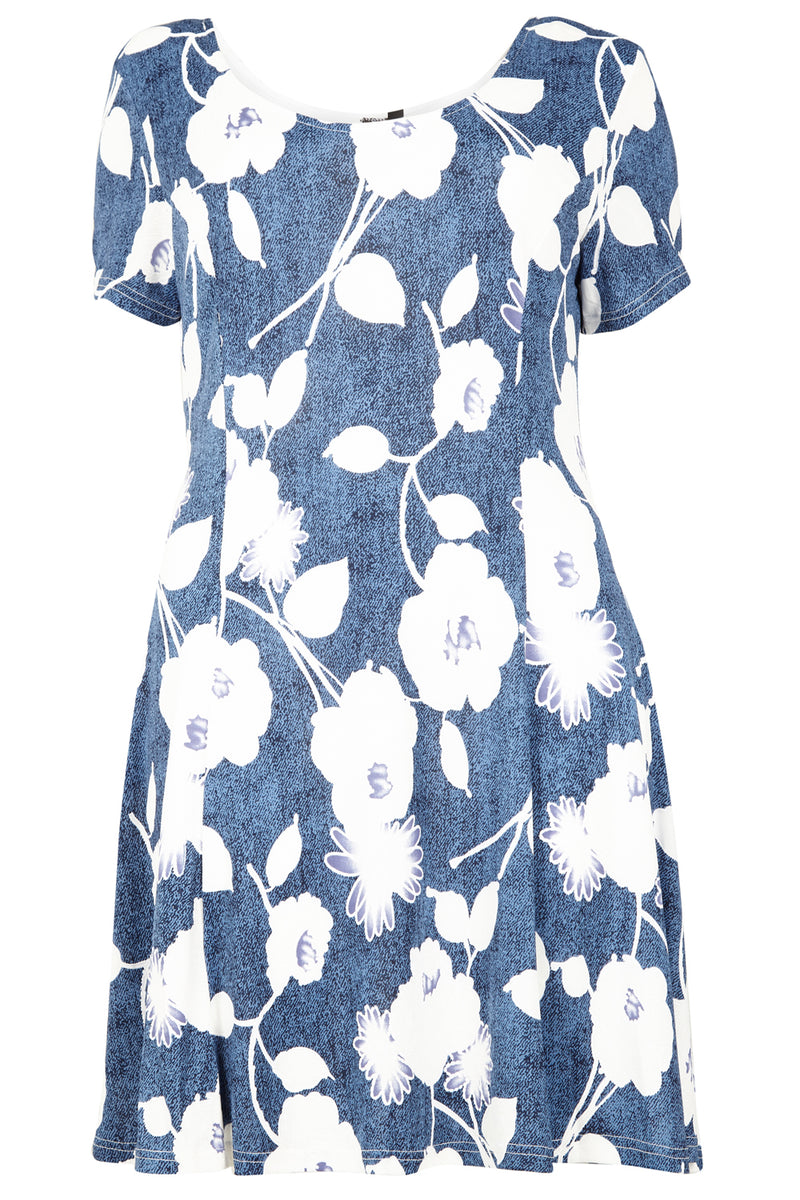 Blue | Curve Floral Tea Dress