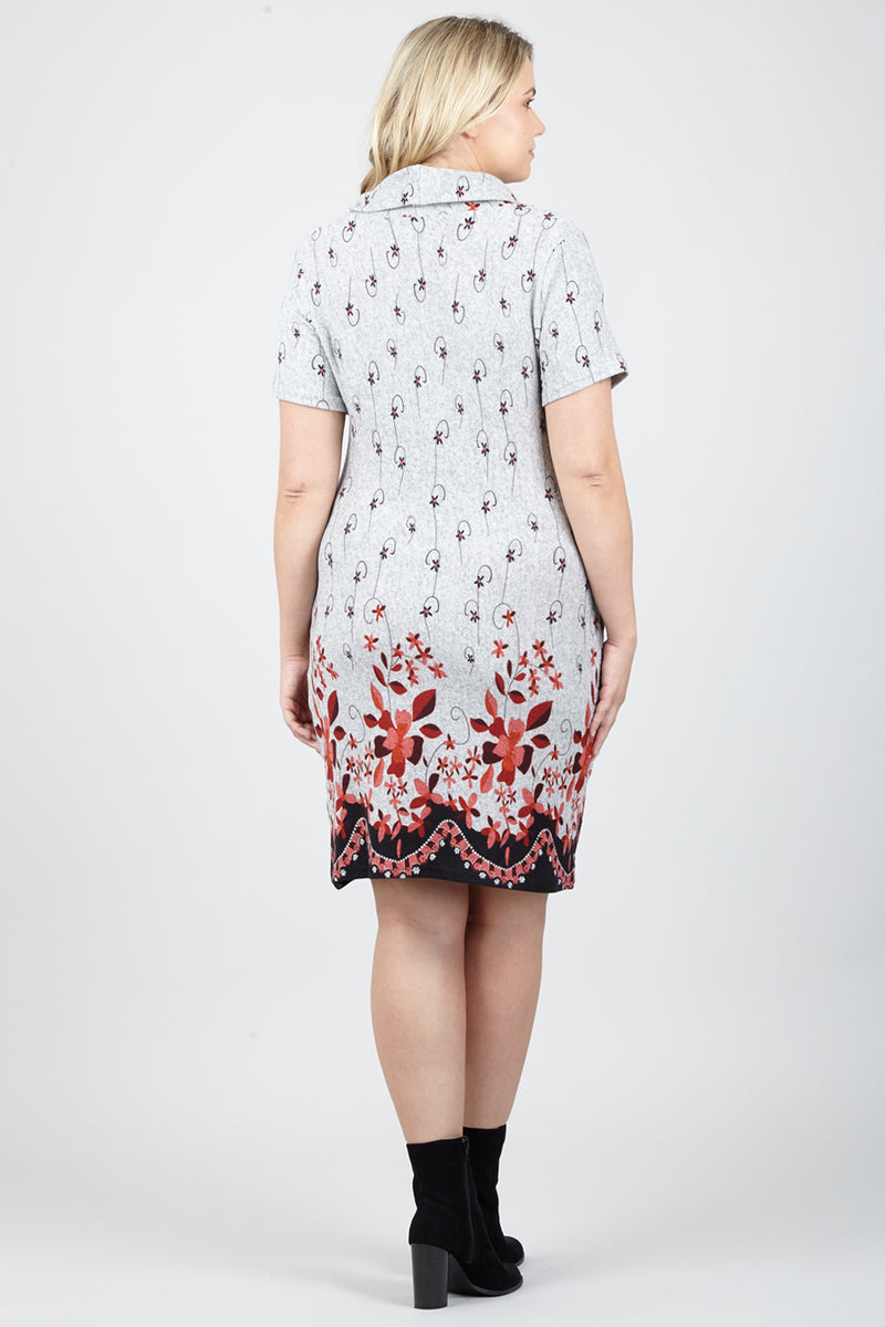 Curve Floral Roll Neck Dress - Izabel London