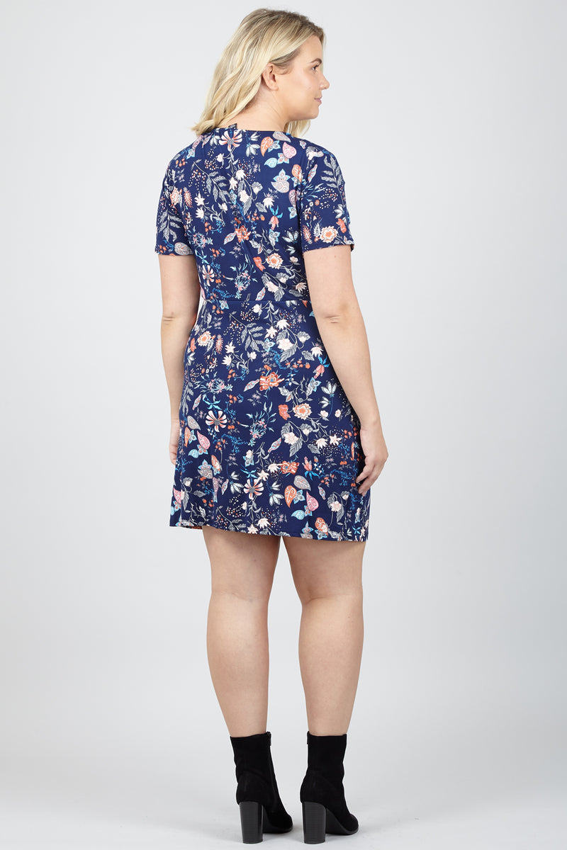 Curve Bright Floral Skater Dress - Izabel London