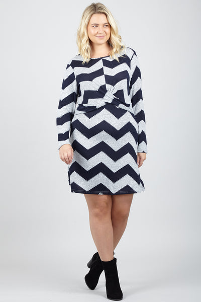 Curve Zig Zag Tunic Dress - Izabel London