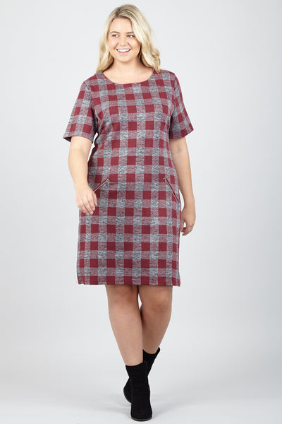 Red | Curve Checked Shift Dress | Izabel London