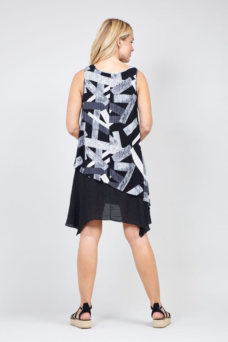 Black | Abstract Layered Tunic Dress