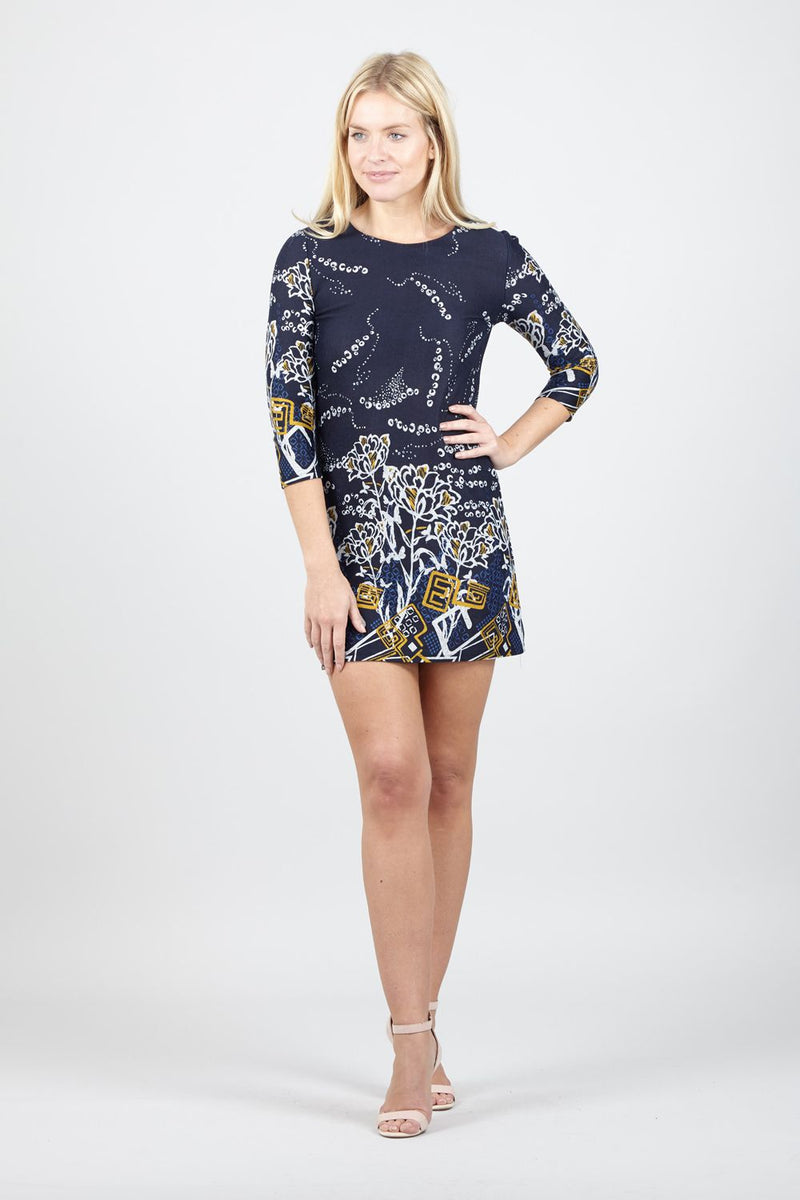 Navy | Abstract Floral Print Shift Dress
