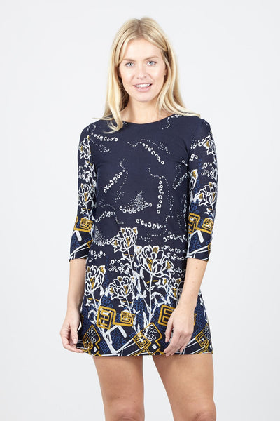 Abstract Floral Print Shift Dress - Izabel London