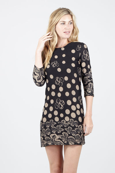 Black | Floral & Polka Dot Dress