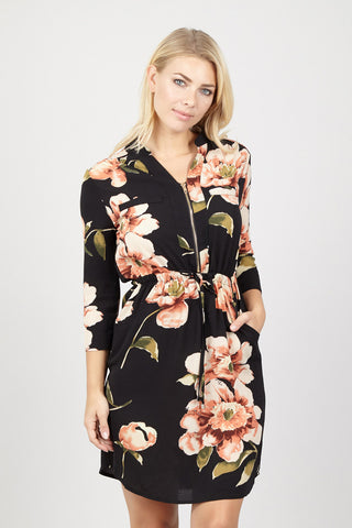 Floral Zip Neck Top