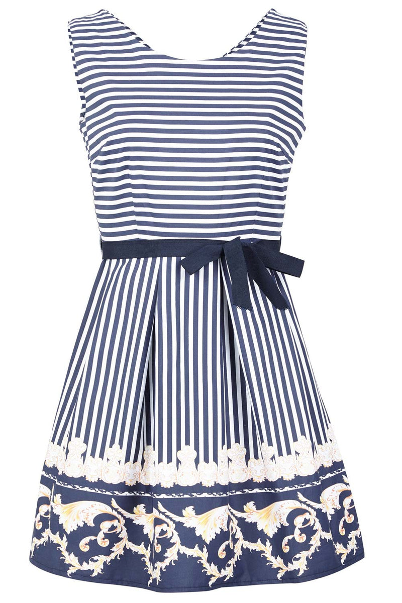 Navy | Stripe & Damask Skater Dress