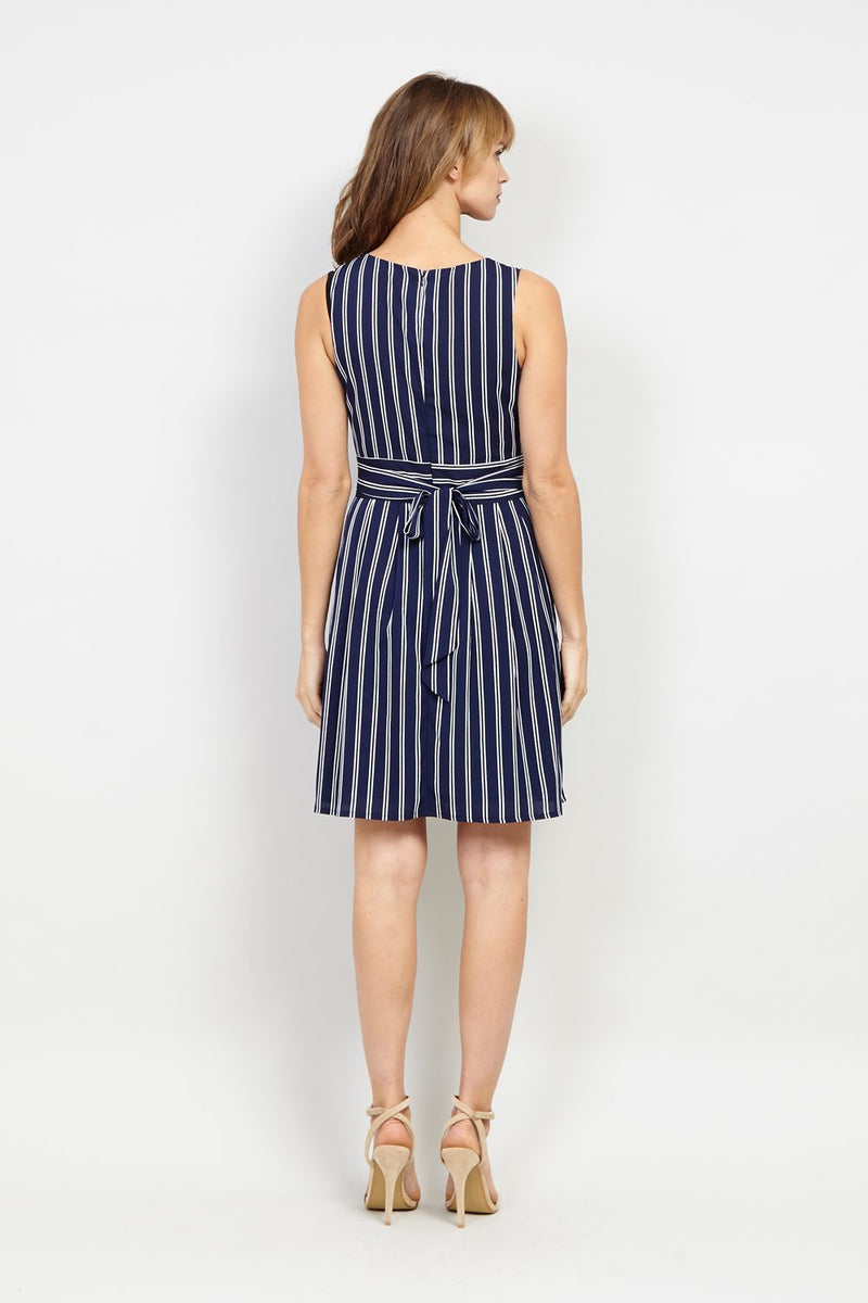 Striped Tie Waist Dress - Izabel London