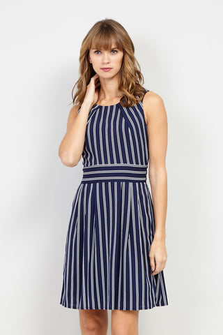 Striped Zip Front Shift Dress