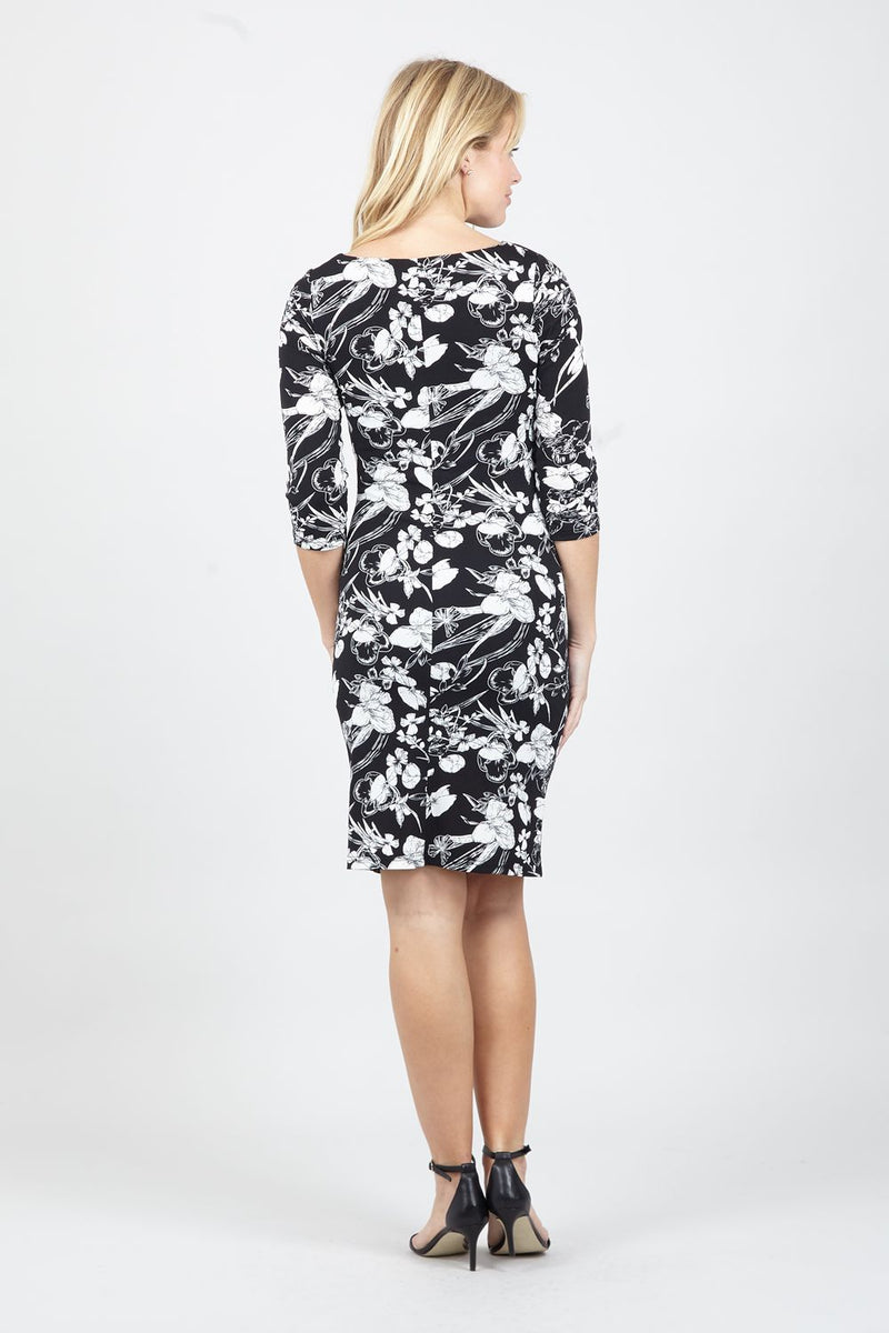 Black | Ruched Floral Bodycon Dress