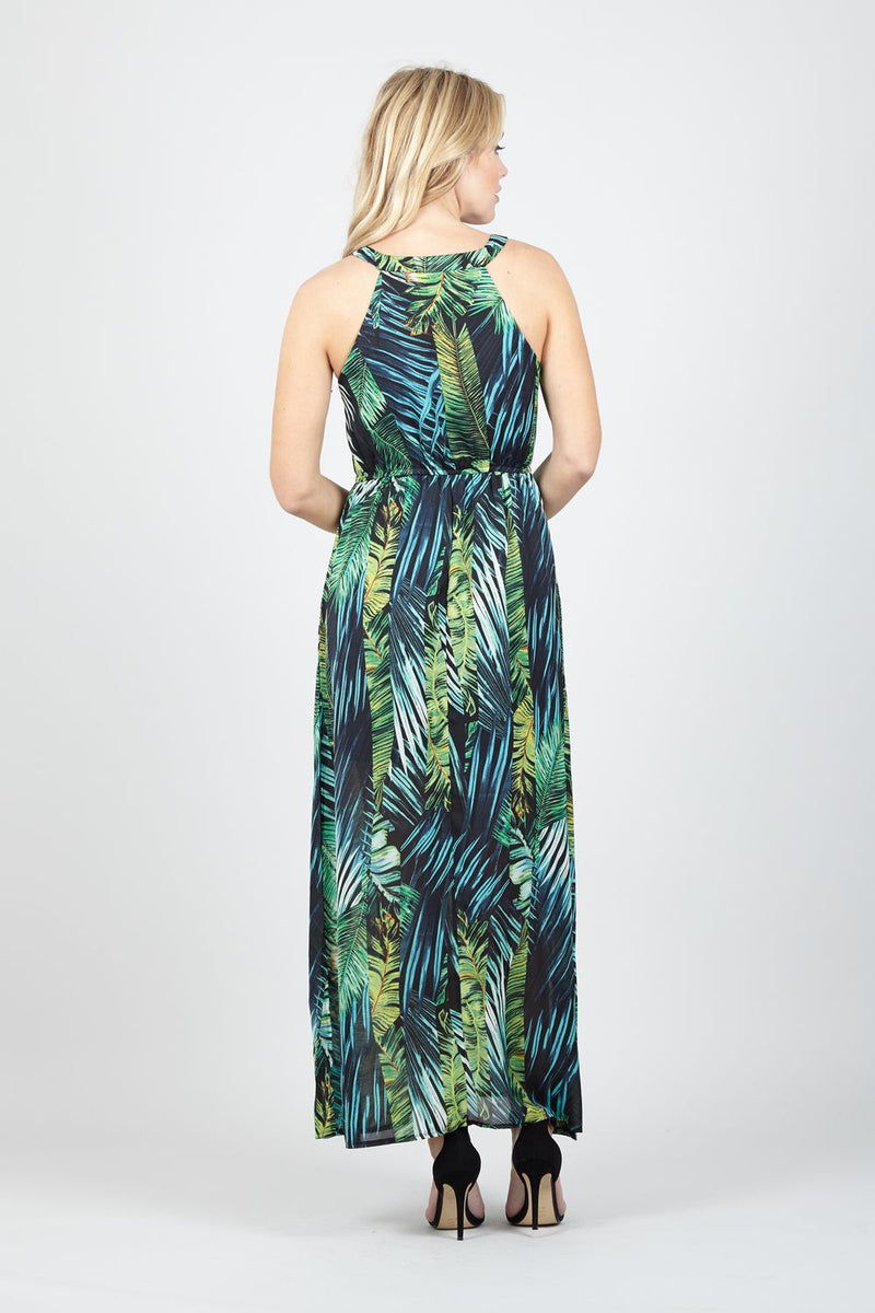 Green | Tropical Print Halterneck Maxi Dress